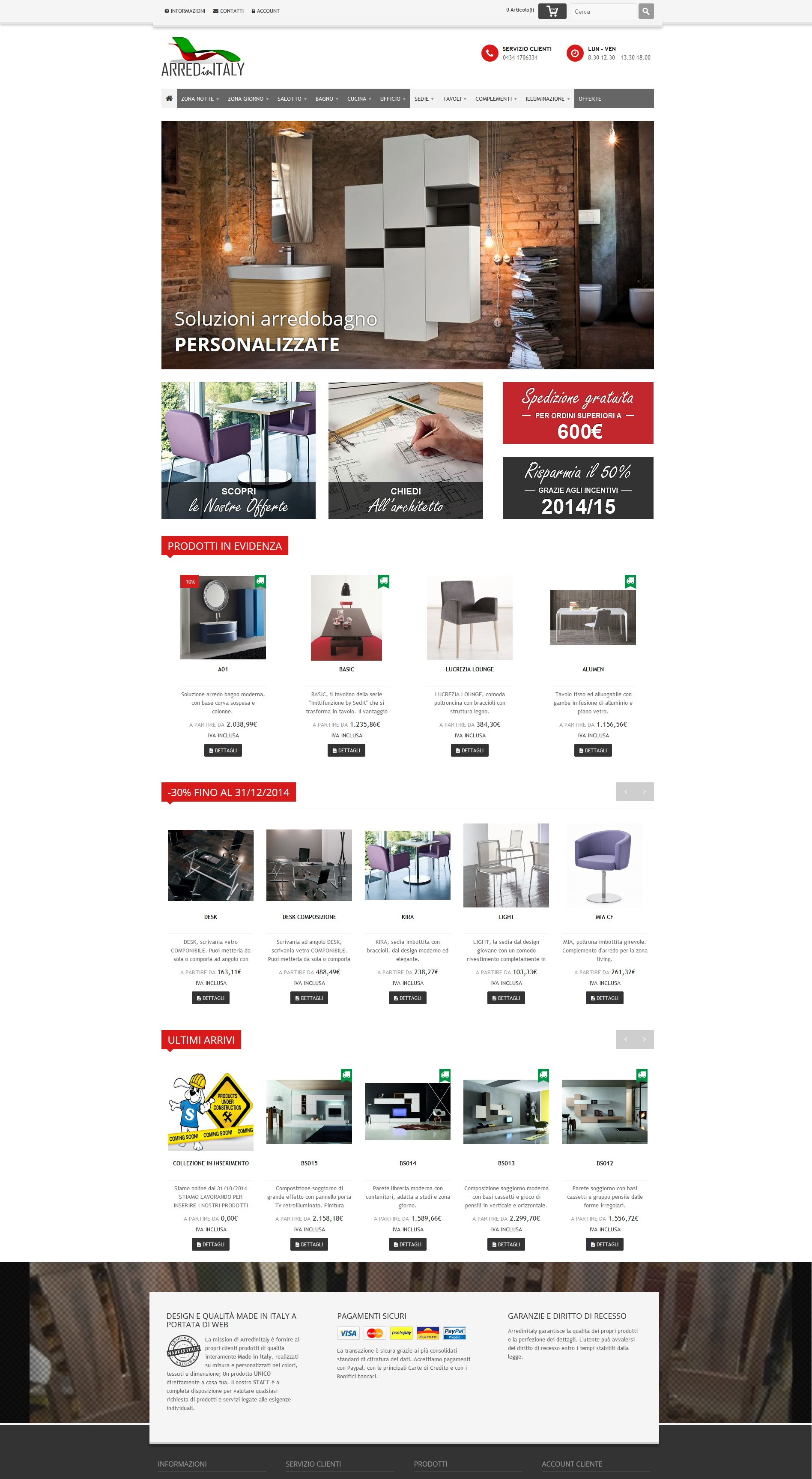 Vendita online di mobili e arredamento for Vendita di mobili online
